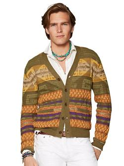 Tonal-Pattern Cardigan by Polo Ralph Lauren in The Hundred-Foot Journey