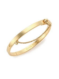 Goldtone Thin Safety Chain Bracelet by Eddie Borgo in Empire