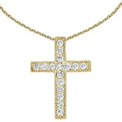 Diamond Cross Pendant with Chain Necklace by 14k Co. in The Town