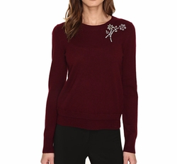 Embellished Brooch Sweater by Kate Spade New York in New Girl