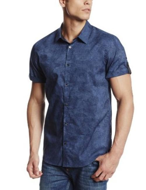 Men's Peony Print Short Sleeve Woven Shirt by Calvin Klein Sportswear in Neighbors