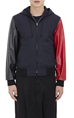 Gabardine Zip-Front Combo Hoodie jacket by Comme Des Garçons Shirt in Empire