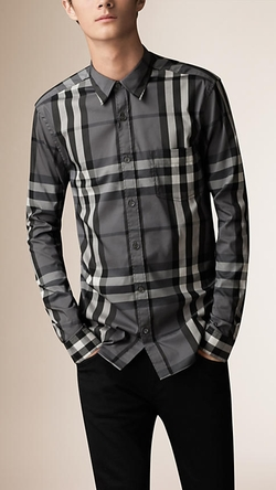 Check Stretch Cotton-Blend Shirt by Burberry in Ballers