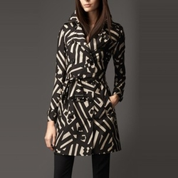 Geometric Print Silk Trench Coat by Burberry in Scandal