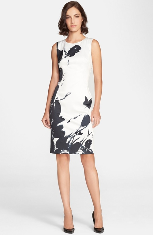 Tulip Print Satin Sheath Dress by St. John Collection in Suits