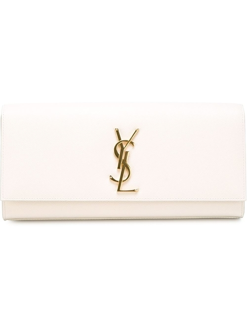 Classic Monogram Clutch Bag by Saint Laurent in Rosewood