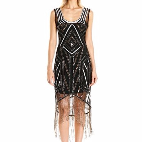 Deco Beaded Marceline Fringe Flapper Dress by Unique Vintage  in Live By Night