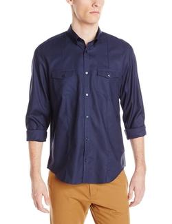 Men's Long Sleeve Chest Pocket Woven Shirt by Calvin Klein in Neighbors 2: Sorority Rising