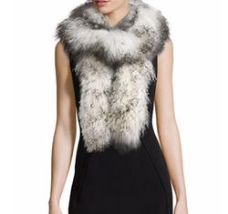 Mongolian Lamb Fur Boa Scarf by Adrienne Landau in The Boss