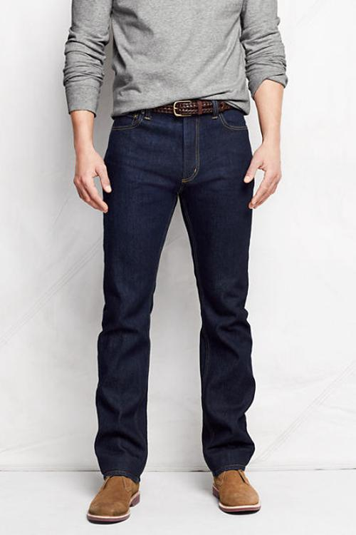 Men's Straight Fit Jeans by Lands' End in About Last Night