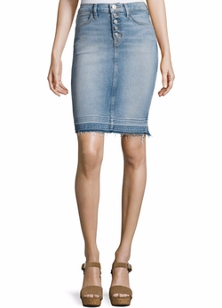 Remi High-Rise Denim Pencil Skirt by Hudson in Friends From College