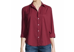 Long-Sleeve Button-Front Blouse by Frank & Eileen in Rosewood