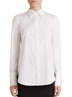 Poplin Button-Down Shirt by Vince in Scream Queens