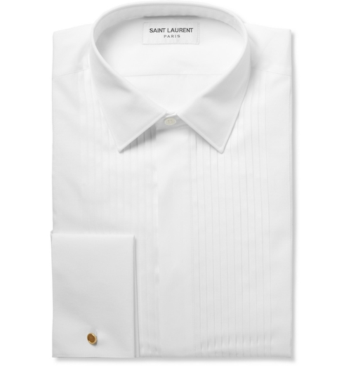 White Bib-Front Cotton Tuxedo Shirt by Saint Laurent in Life