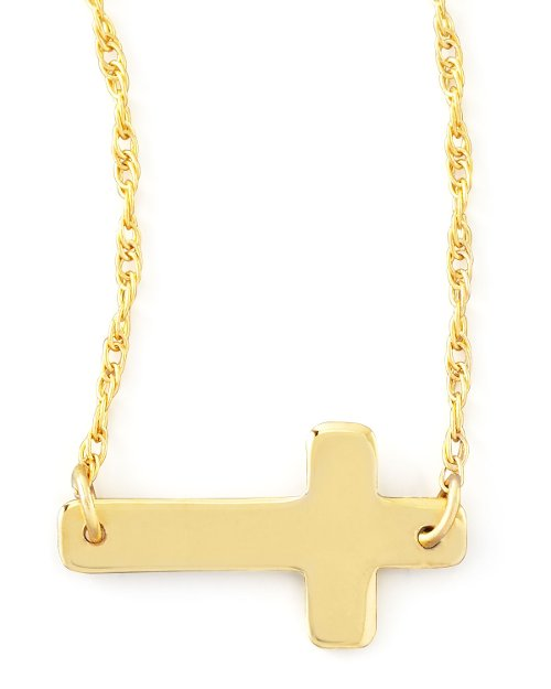 Gold Plate Integrated Cross Necklace by Moon and Lola in That Awkward Moment