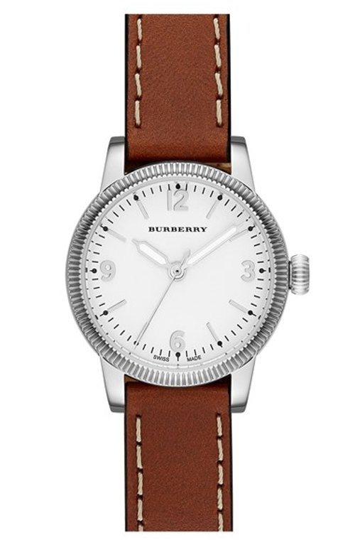 Utilitarian Leather Strap Watch by Burberry in Drive