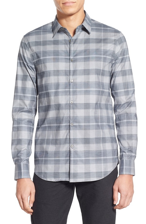 Slim Fit Long Sleeve Plaid Sport Shirt by John Varvatos Star USA in Empire - Season 2 Episode 13