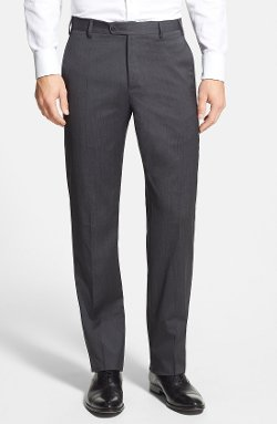 Devon Flat Front Wool Trousers by Zanella in That Awkward Moment