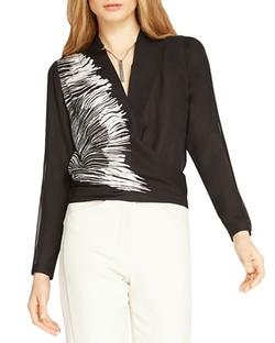 Border Print Silk V-Neck Top by Halston Heritage in The Good Wife