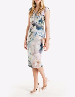 Amily Tile Floral Geo Midi Dress by Ted Baker in Scream Queens