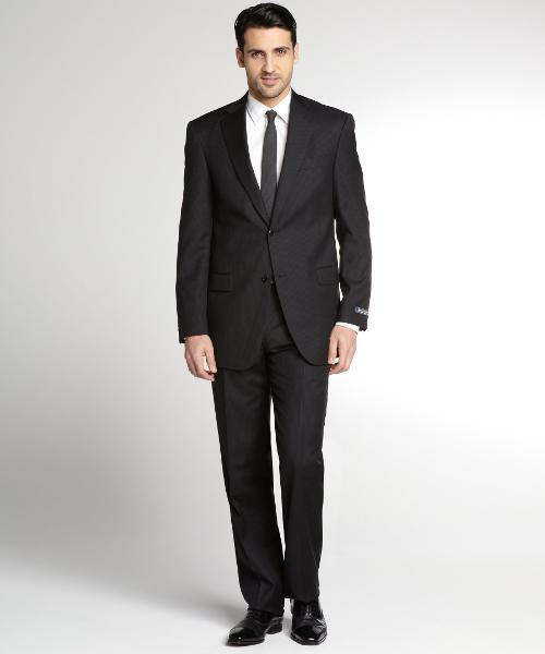 Black Tonal Striped Wool 2 Button Suit With Flat Front Pants by HART SCHAFFNER MARX in The Fault In Our Stars