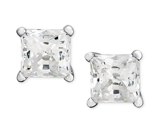 14k White Gold Near Colorless Princess Cut Diamond Studs by Macy's in Beyond the Lights
