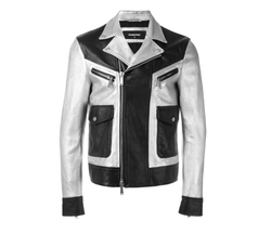 Two Tone Leather Jacket by Dsquared2 in Empire
