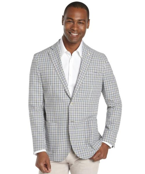 Blue And White And Brown Gingham Check Nylon Blend 2-Button Blazer by LUBIAM in Get On Up