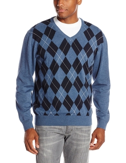 Hadley Argyle V-Neck Sweater by Cutter & Buck in Wedding Crashers