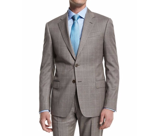 G-Line Windowpane Two-Piece Wool Suit by Armani Collezioni  in Ballers