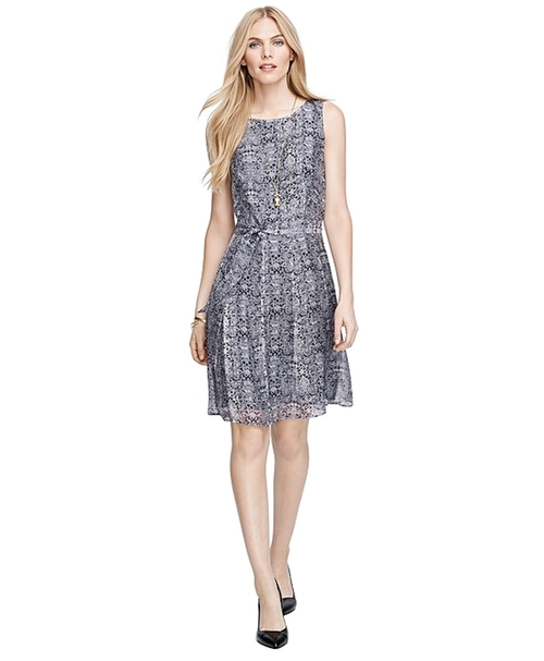 Sleeveless Gingham Floral Printed Silk Dress by Brooks Brothers in Ex Machina