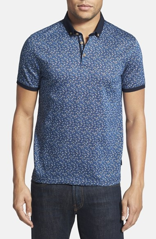 'Flowbo' Slim Fit Floral Print Polo Shirt by Ted Baker London in Ted 2