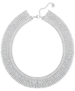 Silver-Tone Crystal Mesh Collar Necklace by Swarovski in Empire