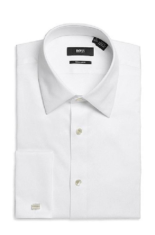 Regular Fit, Modified Point Collar Cotton French Cuff Tuxedo by Hugo Boss in The Great Gatsby