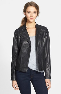 Asymmetrical Leather Moto Jacket by Bernardo in Entourage