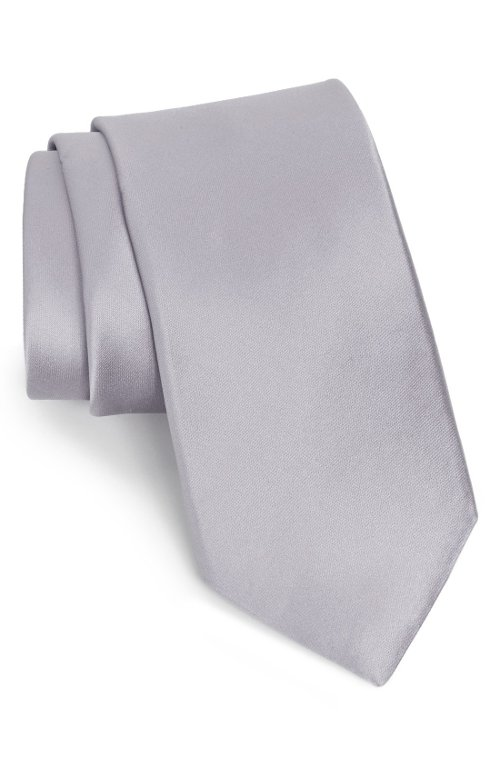 Solid Satin Silk Tie by Nordstrom in Need for Speed