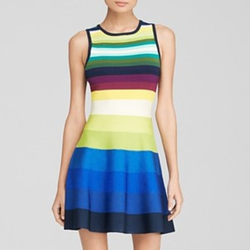 Rainbow Stripe Knit Dress by Karen Millen in Pretty Little Liars - Season 6 Episode 5
