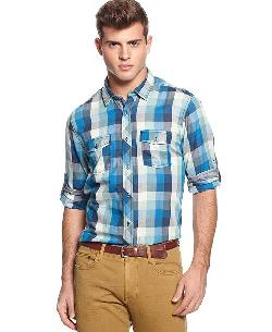Long-Sleeve Plaid Button-Down Shirt by Bar III in Million Dollar Arm