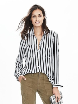Mixed-Stripe Blouse by Banana-Republic in Supergirl
