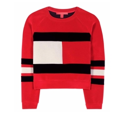 Flag Scuba Velvet Cropped Sweater by Tommy Hilfiger in Empire