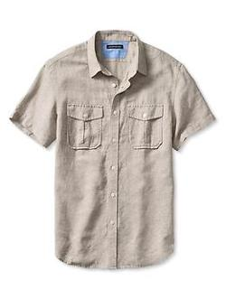 Cotton Short-Sleeve Utility Shirt by Banana Republic in Savages