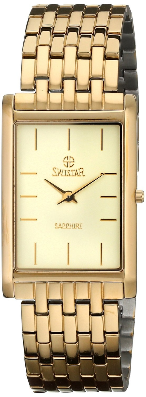 Gold-Plated Stainless Steel Watch by Swistar in Ballers