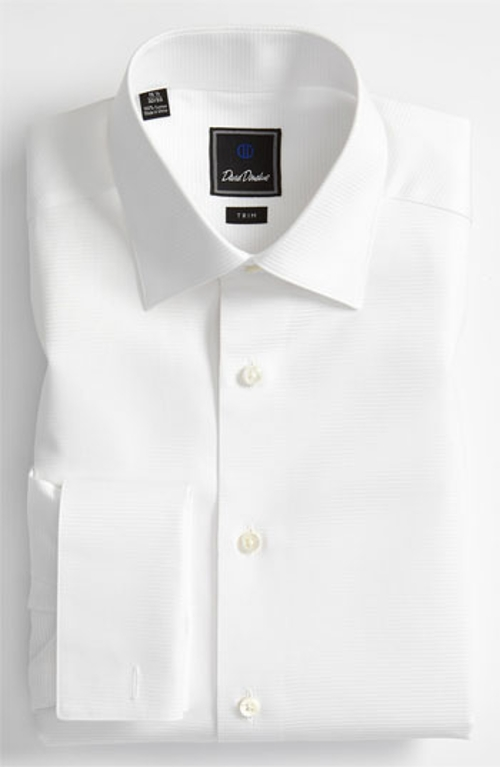 Trim Fit French Cuff Tuxedo Shirt by David Donahue in Entourage