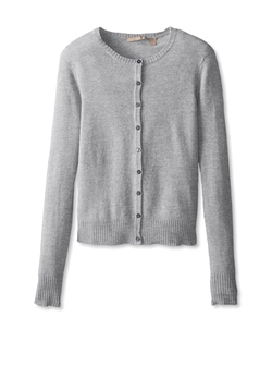 Long Sleeve Crewneck Cardigan Sweater by Cashmere Addiction in GoldenEye