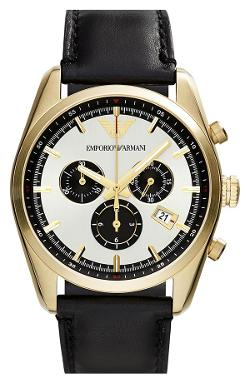 Chronograph Leather Strap Watch by Emporio Armani in Addicted