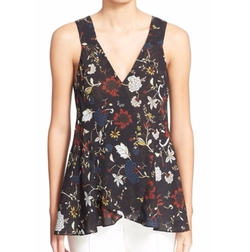 'Purcell' Floral Print Sleeveless Silk Top by A.L.C. in Arrow
