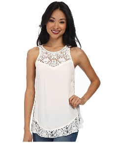 Sleeveless Crepe & Lace Tank Top by Rebecca Taylor in Insidious: Chapter 3