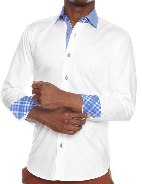 Casual Dress Shirts with Blue Contrast Collar & Square Buttons by Bertigo in The Expendables 3
