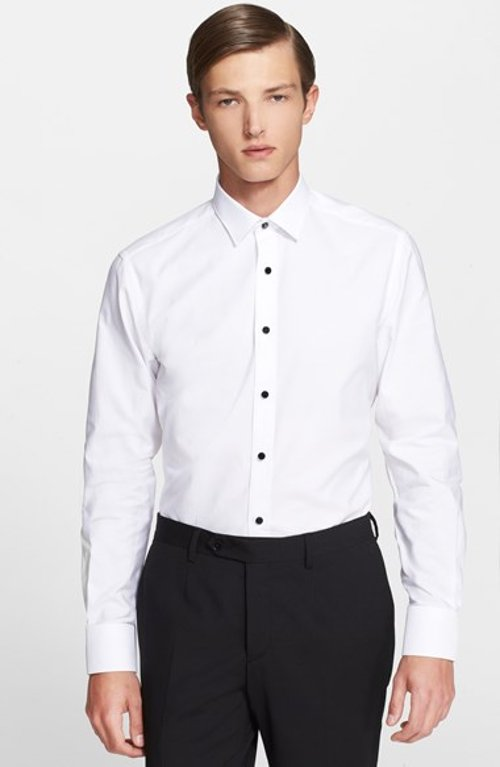 Trim Fit Glass Button Tuxedo Shirt by Lanvin in The Loft