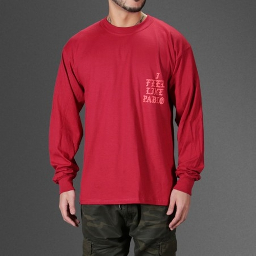 I Feel Like Pablo Red Long Sleeve T-Shirt by Kanye West in Keeping Up With The Kardashians - Season 12 Episode 2